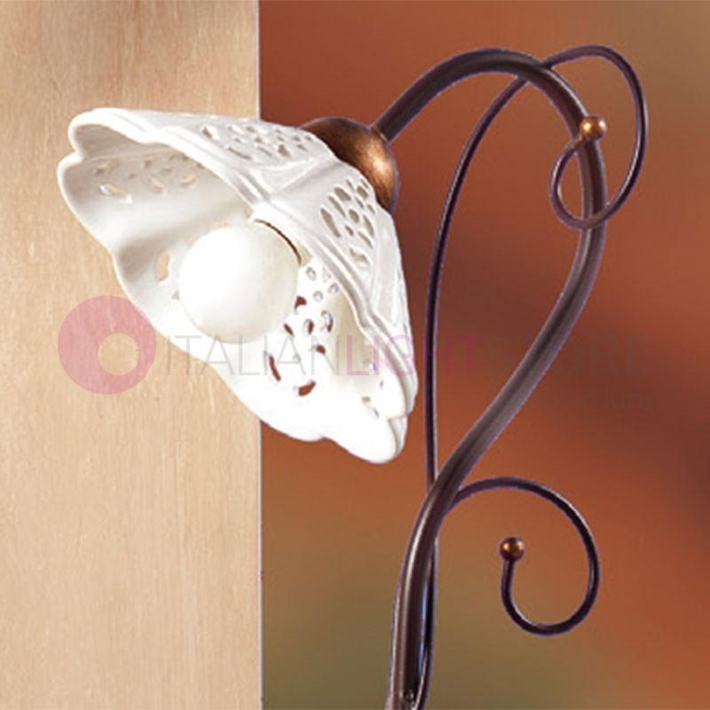 Lampade Da Tavolo Ferro Battuto : Luce da tavolo comodino ceramica ferro stile rustico country