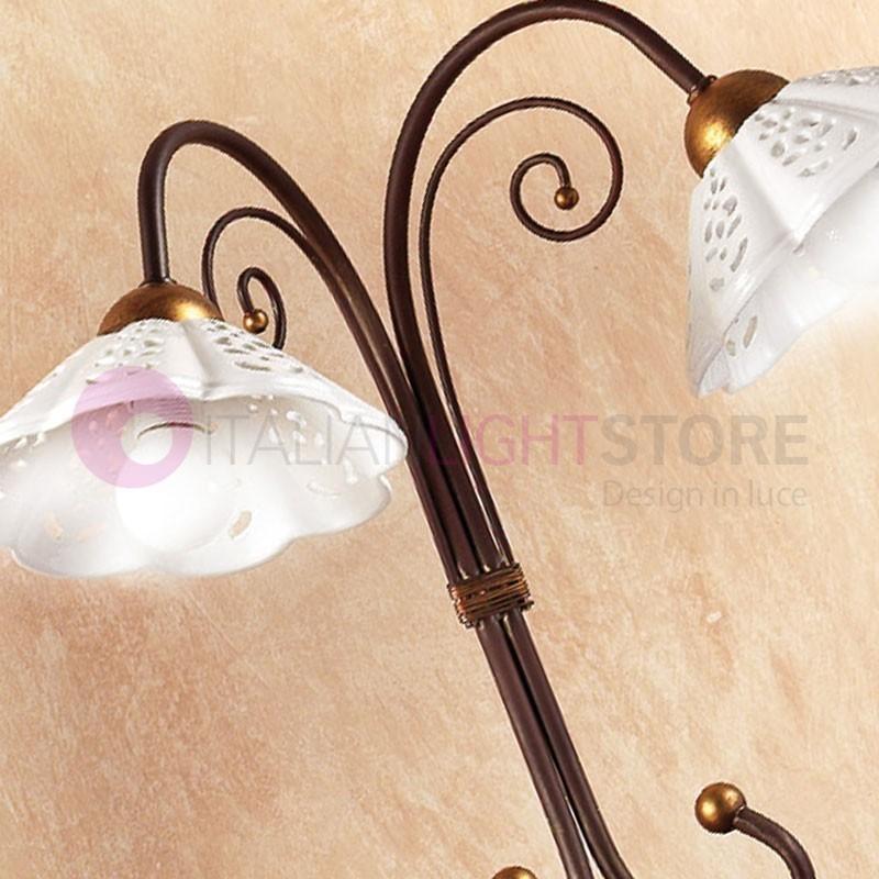 Lampade Da Tavolo Ferro Battuto : Lampada da tavolo ceramica ferro battuto stile rustico country