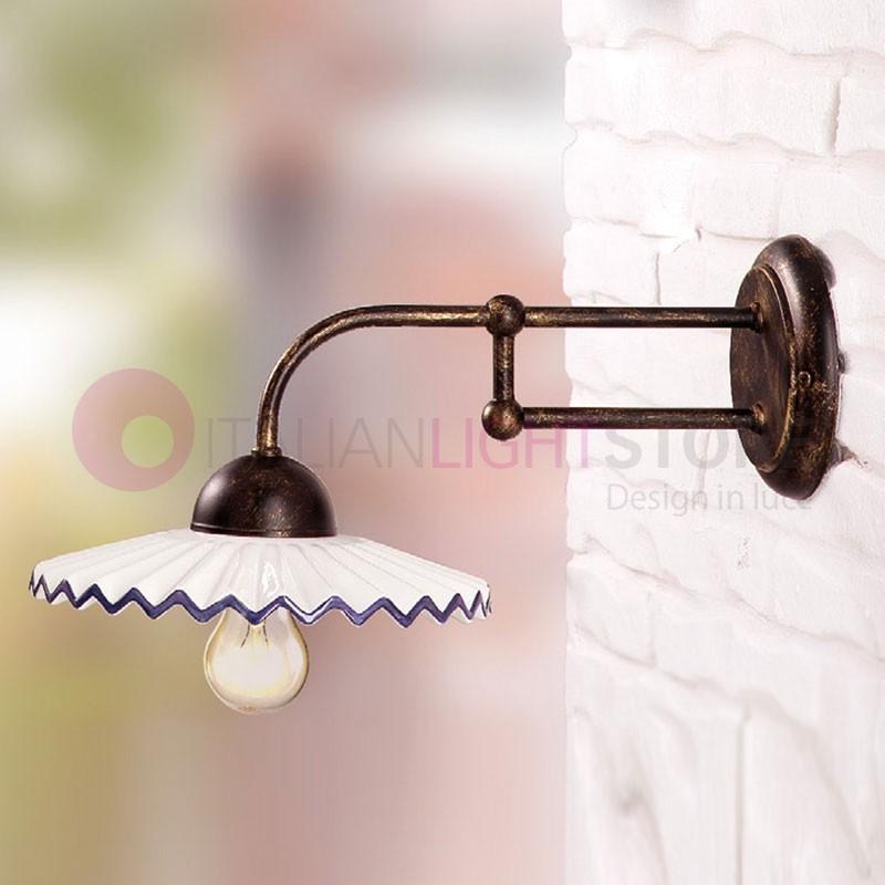 cascina lampe de mur de fer en c ramique pays ceramiche borso. Black Bedroom Furniture Sets. Home Design Ideas