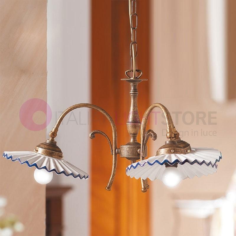 Rustic Chandelier Farmhouse Chandelier Shabby By Makariosdecor: FARMHOUSE Chandelier Ceramic And Brass 3-light Rustic