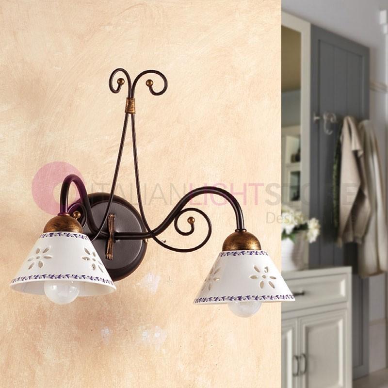Massarosa applique murale rustique 2 lampes en fer et - Applique murale rustique ...