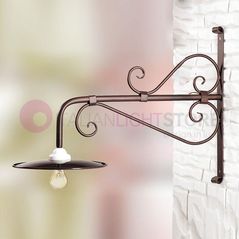 Amber lampada a parete applique da esterno con vetro ambra for Salotti in ferro battuto per esterni