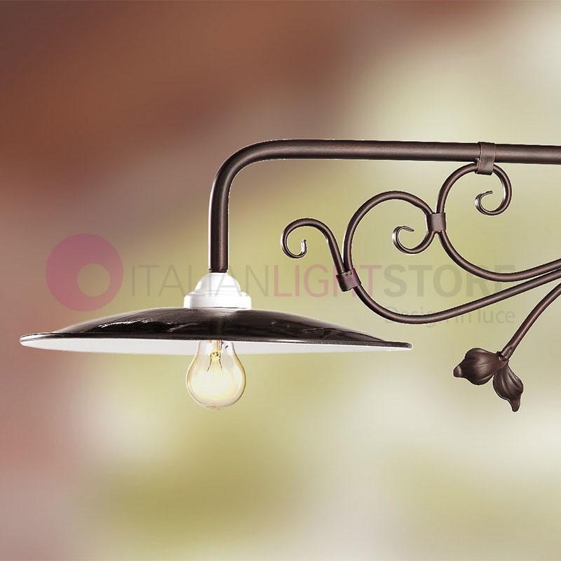 Borghetto lampada parete rustica esterni ferro battuto ceramiche borso - Applique da parete in ferro battuto ...
