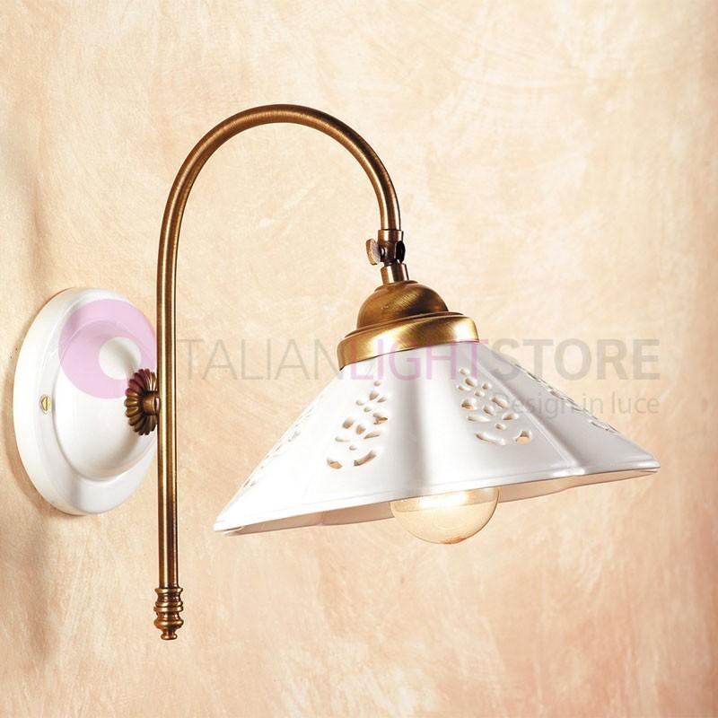 Applique lampada a parete ceramica ottone stile rustico for Lampade stile country