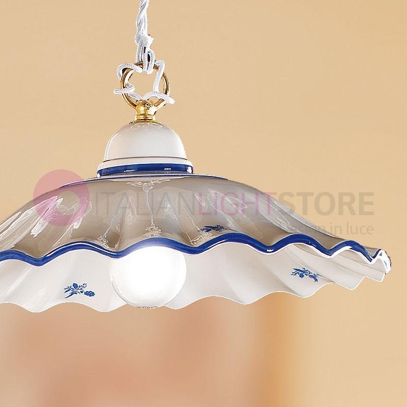 Lampadario sospensione in ottone piatto bianco ceramica cucina rustica country