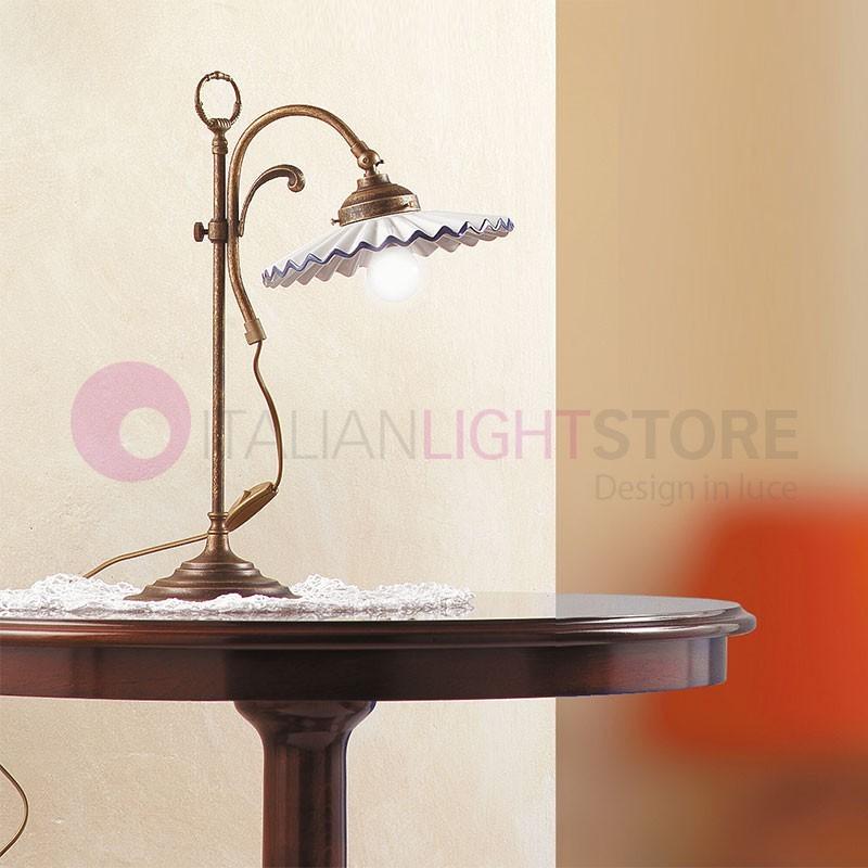 Lampada Da Scrivania In Ottone.Lampada Da Tavolo Ceramica Ottone Stile Rustico Country Ceramiche