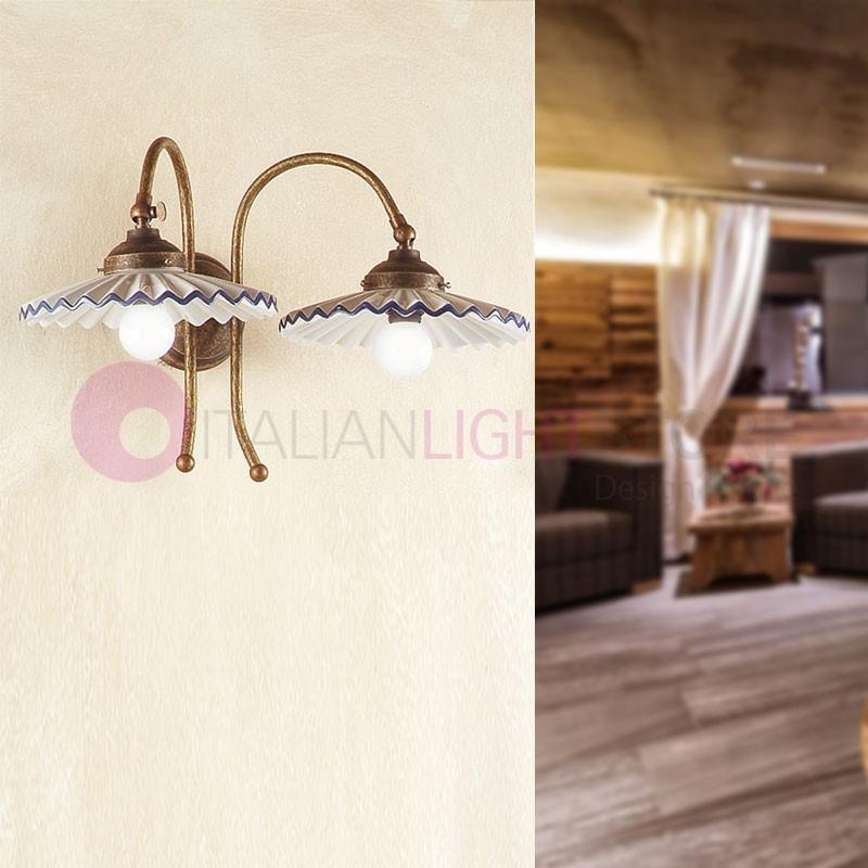 papaveri applique rustique fer forg c ramique fleurs de. Black Bedroom Furniture Sets. Home Design Ideas