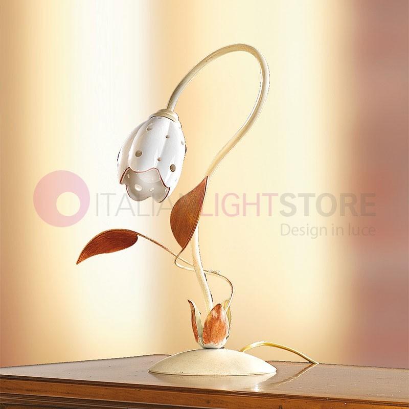 TULIPANO Lampada da Tavolo Ferro e Ceramica Rustica Country