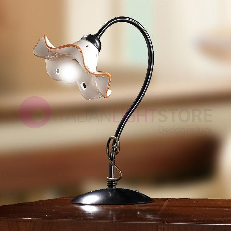 POGGIBONSI Lampada da Tavolo in Ferro e Ceramica Rustica Country
