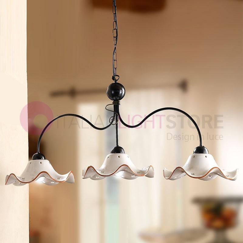 Lampadario 3 luci ferro battuto ceramica rustico for Mercatone uno lampadari ventilatori