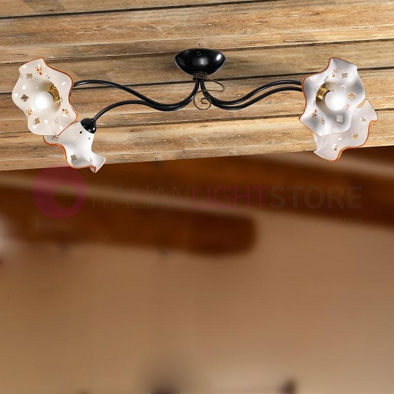 Plafoniera lampadario ferro battuto rustico ceramiche borso - Lampadario da bagno ...
