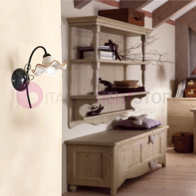 Applique mural rustique fer c ramique blanche campagnard for Ceramique murale blanche