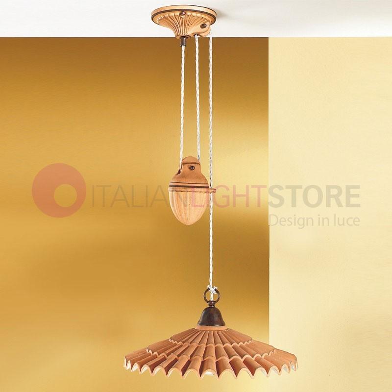 VANIA Sospensione Saliscendi Ceramica | Illuminazione Cucine Rustico ...
