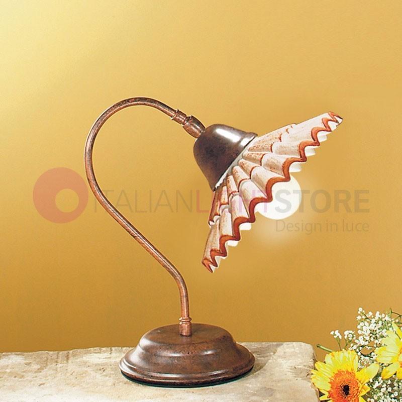 VANIA Lampada da Tavolo in Ceramica e Ferro Battuto Rustico Country