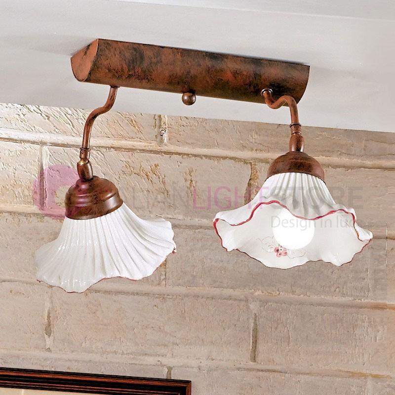 ANNA Plafoniera Lampada a Soffitto in Ceramica 2 Luci Stile Rustico