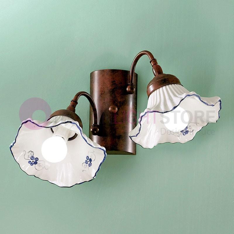 ANNA Applique Lampada a Parete in Ceramica Stile Rustico