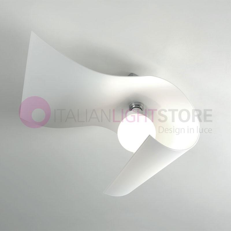CARRIE Lampada da Parete e Soffitto in Vetro Curvato L.22 Design Moderno