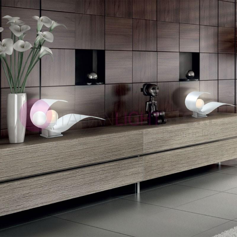 CARRIE Lampada da Tavolo in Vetro Curvato L.31 Design Moderno