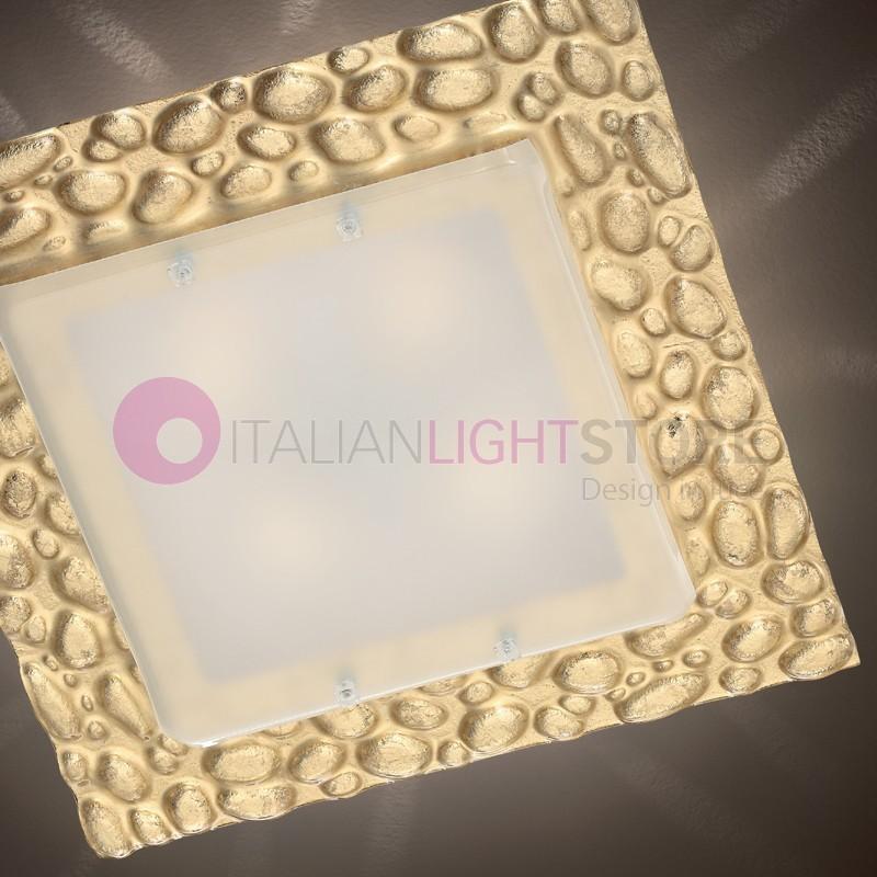 Stone Lampada da Soffitto Vetro Murano 60x60 Effetto Sassi