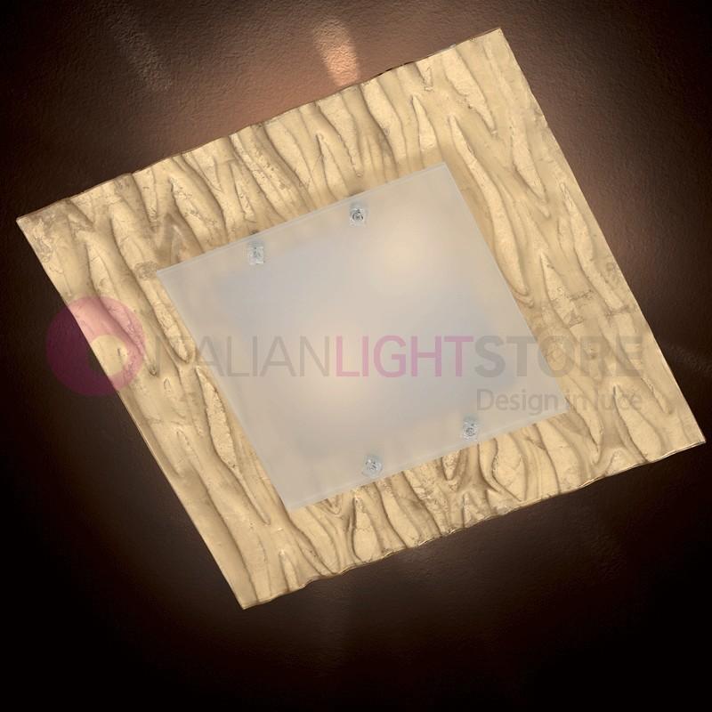 Corteccia Lampada da Soffitto Vetro Murano 50x50
