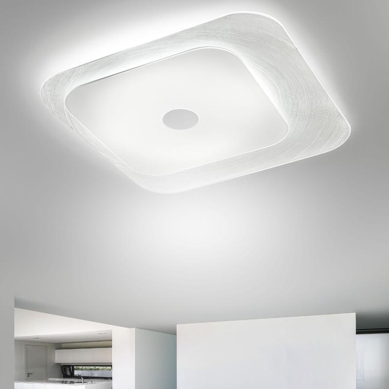 Lampada led a soffitto vetro quadro moderno fuoriskema di for Illuminazione led a soffitto