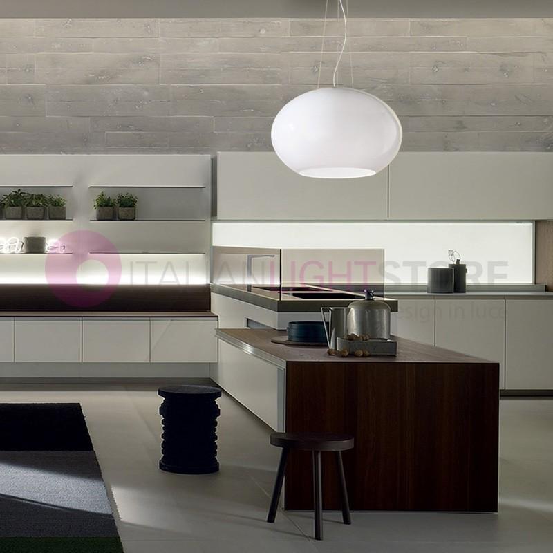 Earth moderna lampada a sospensione per cucina in vetro soffiato - Vetro per cucina ...