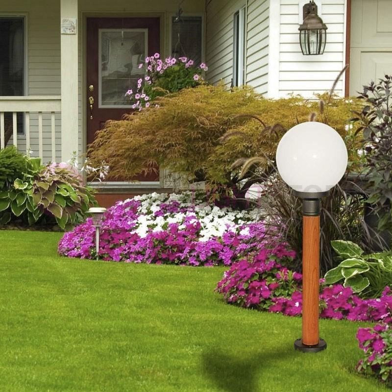 FOCUS Lantern Pole Wood Effect Outdoor Garden Ball Globe d.25