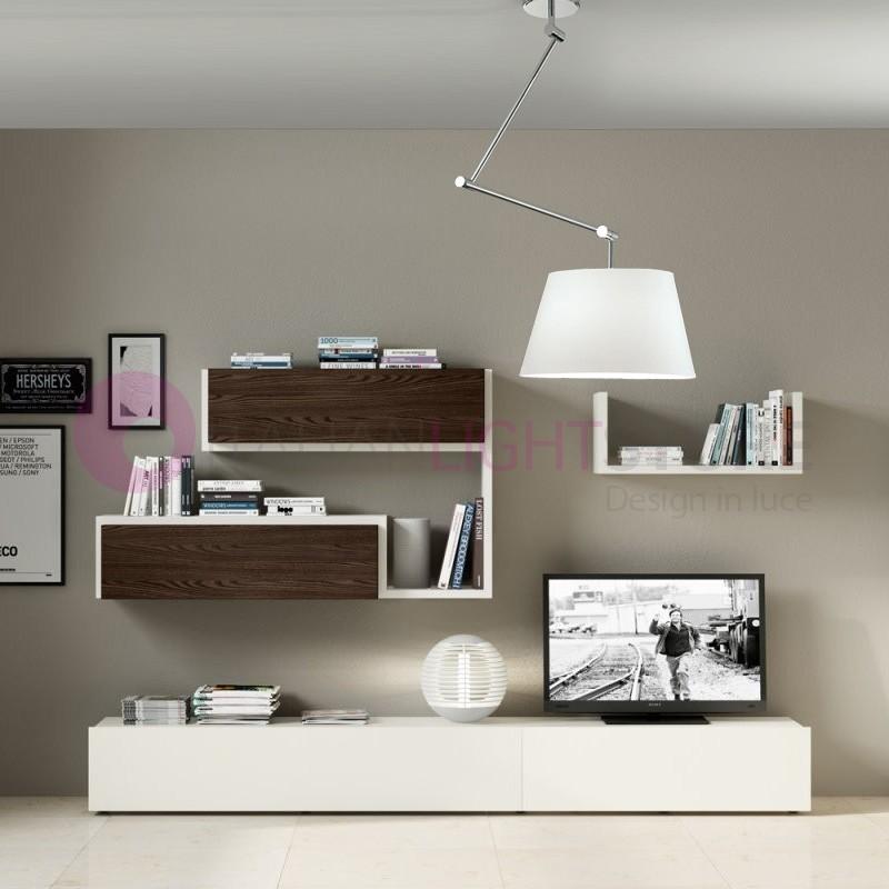 PLAY Lampada a Sospensione Braccio Snodabile con Paralume in Tessuto Design Moderno