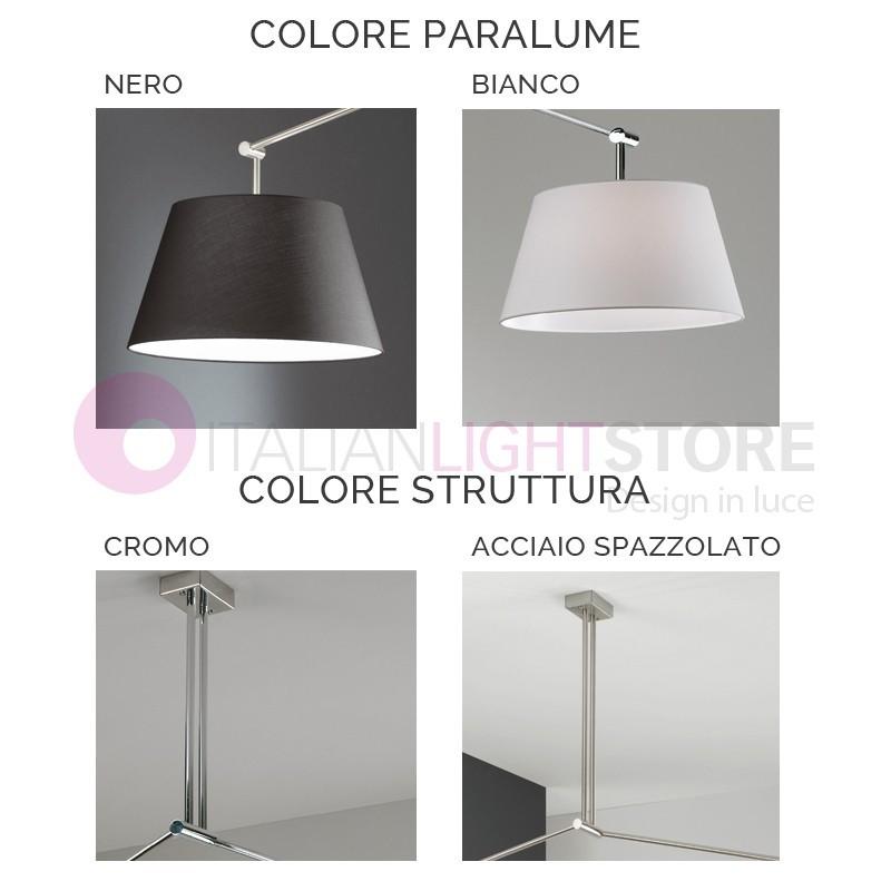 PLAY Lampada a Sospensione Snodata con Paralume in Tessuto Design Moderno
