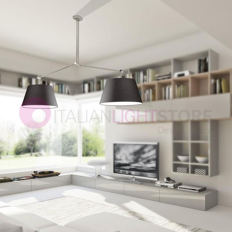 PLAY Sospensione Grande 2 luci con Paralumi in Tessuto Design Moderno