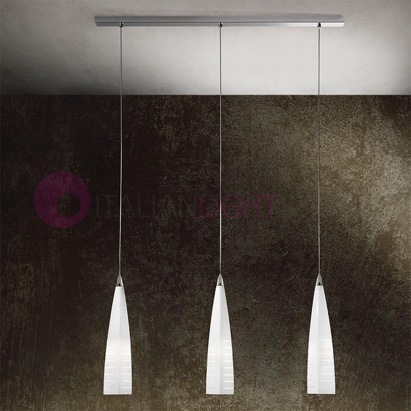 IRIS Lampada a Sospensione 3 Luci in Vetro di Murano Design Moderno