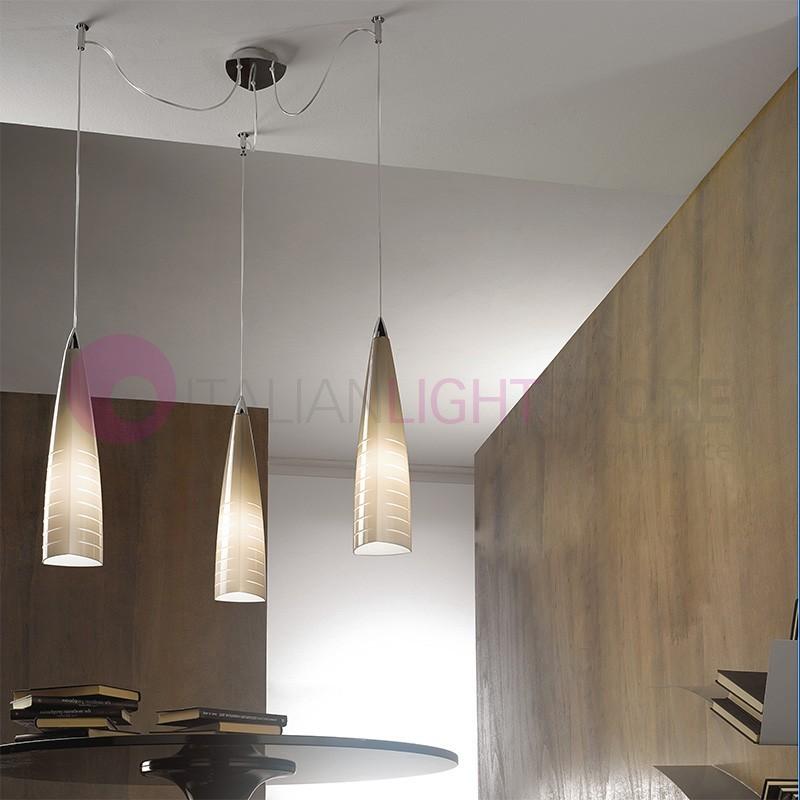Lampada Sospensione 3 Luci regolabili Vetro Murano Design Moderno ...