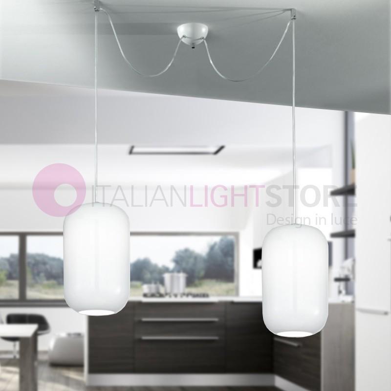 DREAM Lampada a Sospensione a 2 Luci in Vetro Soffiato Design Moderno
