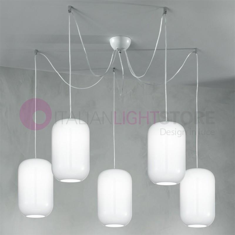 DREAM Lampada a Sospensione a 5 Luci in Vetro Soffiato Design Moderno