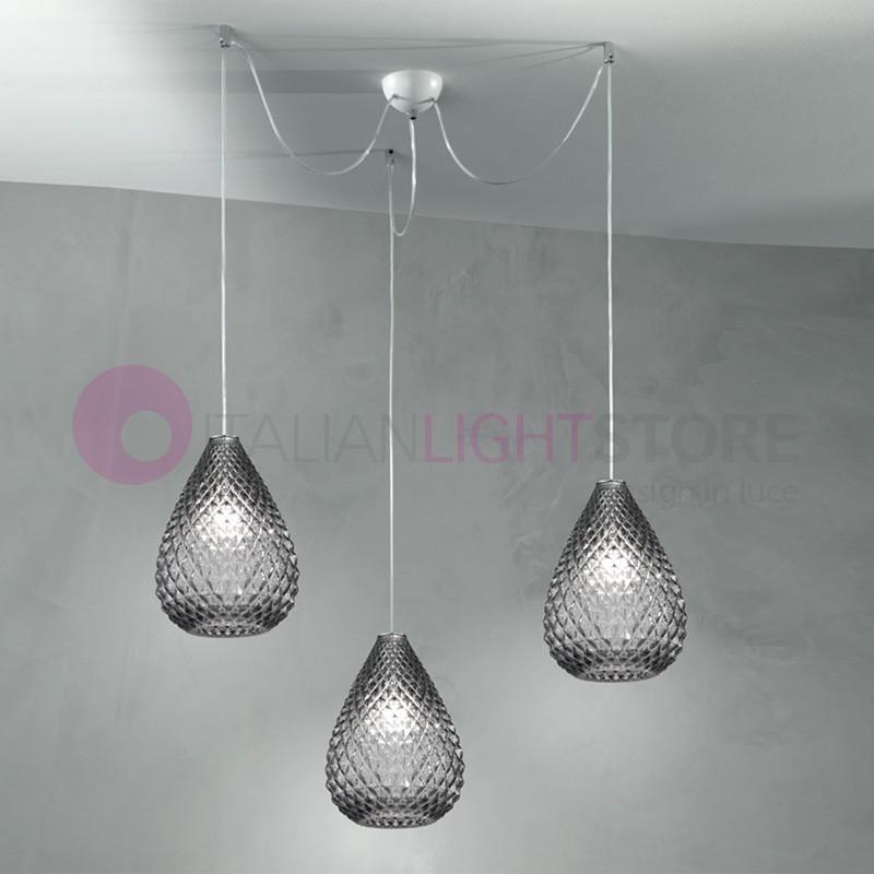 Lampadario Gocce Cristallo Moderni.Goccia Lampada A Sospensione A 3 Luci In Vetro Design Moderno Due P