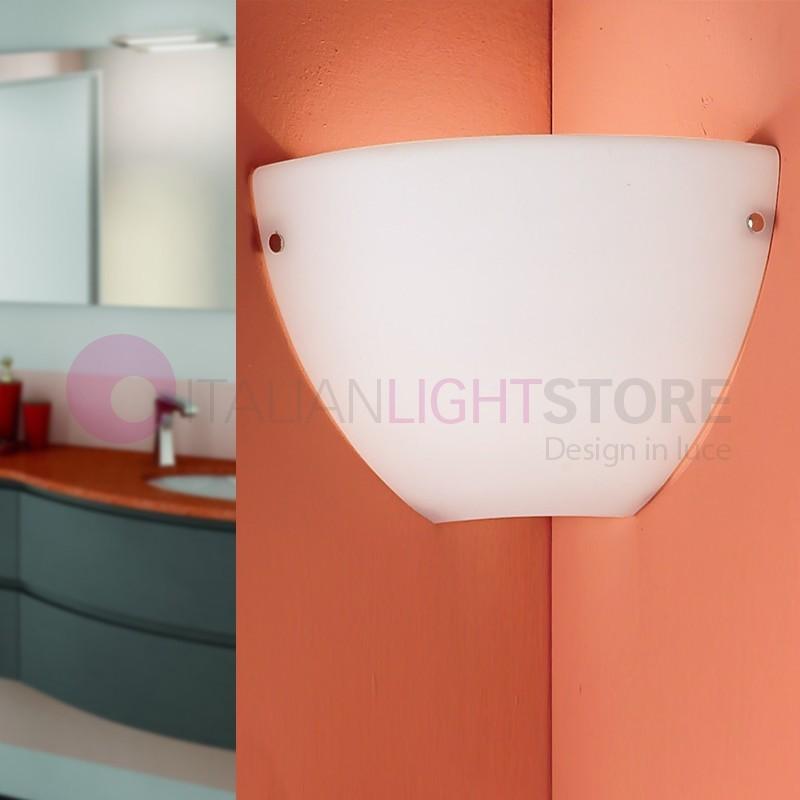 PASS Mini Applique Lampada a Parete ad Angolo Moderna in Vetro Soffiato