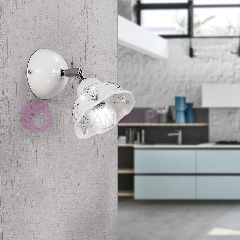 COROLLA Lampada Spot Orientabile in Ceramica con Cristalli