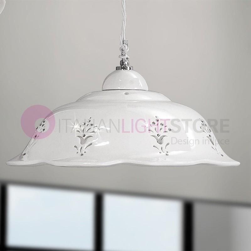 Lampadari In Ceramica.Corolla Lampadario Sospensione D 36 In Ceramica Bianca Con Cristalli