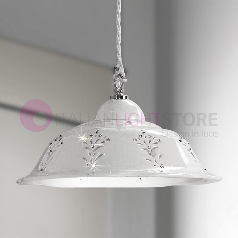 Lampadari In Ceramica.Corolla Sospensione D 29 In Ceramica Bianca Con Cristalli