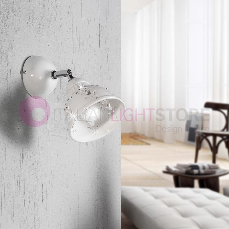 LUNADORO Lamp Spot Swivel Ceramic with Crystals