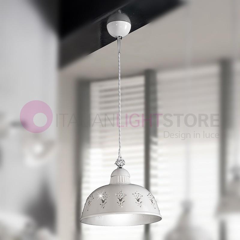 LUNADORO pendant Lamp D. 30 Ceramic and Crystals