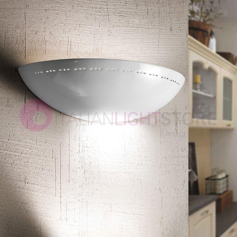 BORGO DI LUCE Applique Vaschetta Aperta in Ceramica Bianca D.39