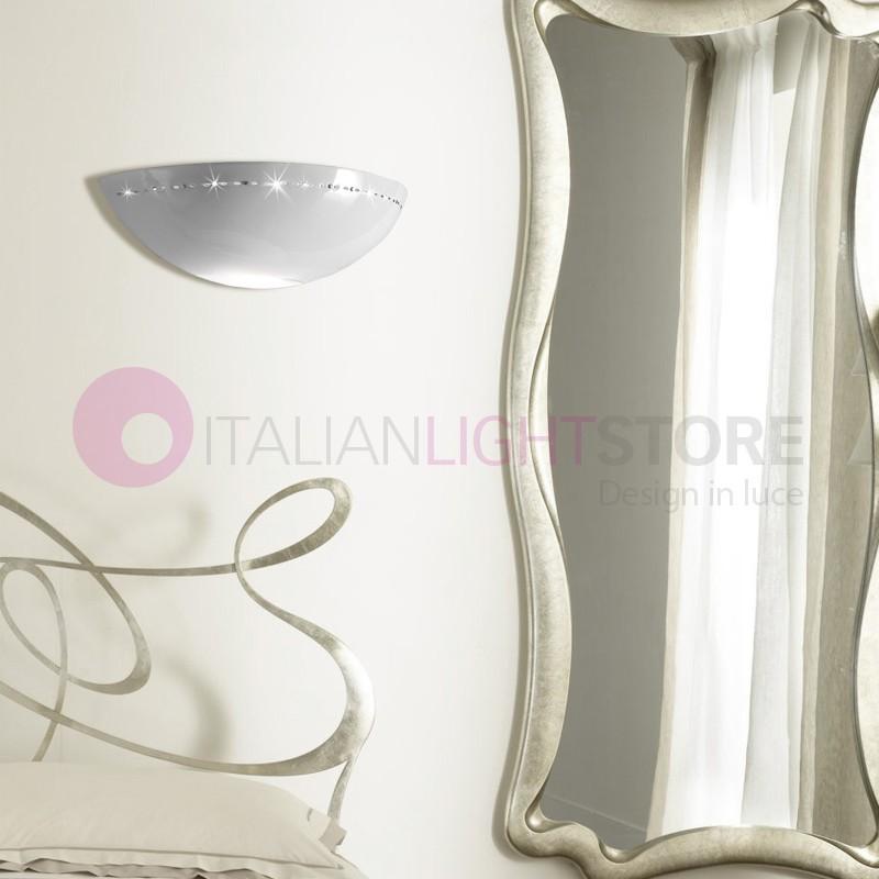 BORGO DI LUCE Applique Vaschetta Aperta D.39 in Ceramica con Cristalli