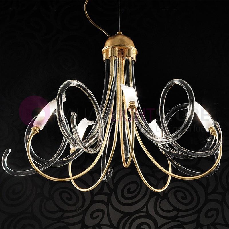 CHIC Moderno Lampadario 5 luci Vetro di Murano Design | Bellart