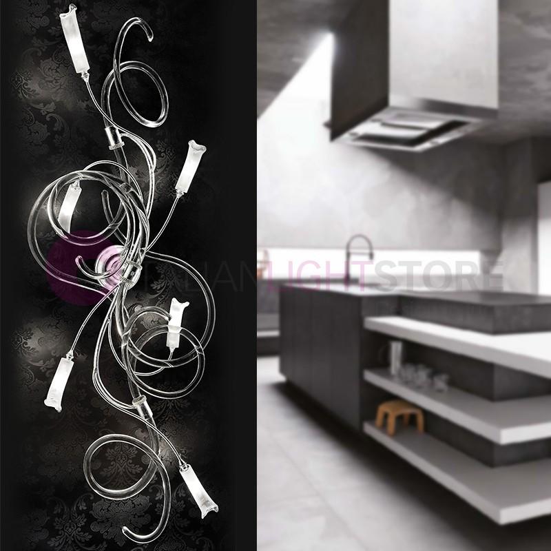 CHIC Plafoniera 6 Luci in Vetro di Murano Design Moderno