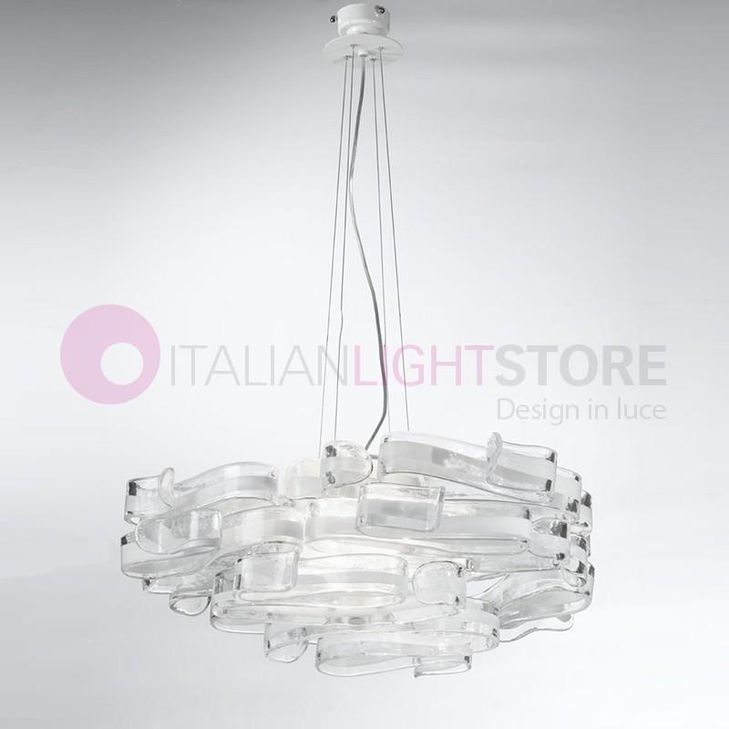 GLORIA Moderno Lampadario 4 luci Vetro di Murano Design | Bellart