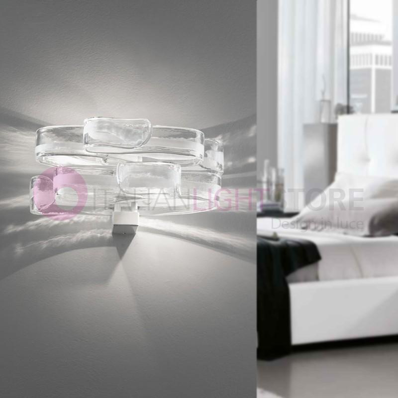 GLORIA Lampada a Parete 2 Luci in Vetro di Murano Design Moderno