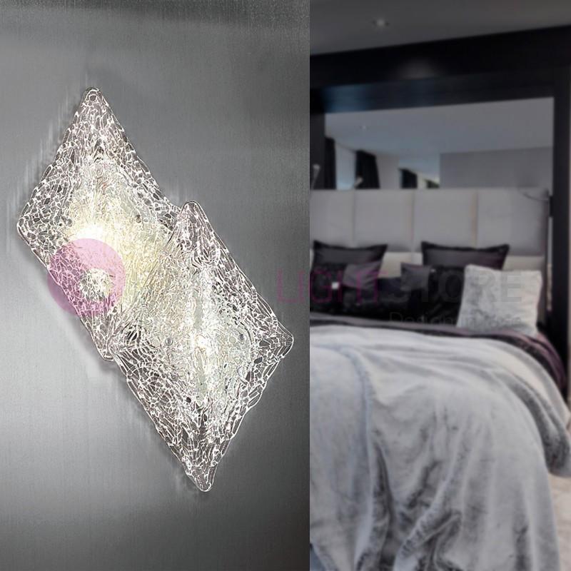 ALASKA Lampada a Parete 2 Luci in Vetro Artistico Design Moderno