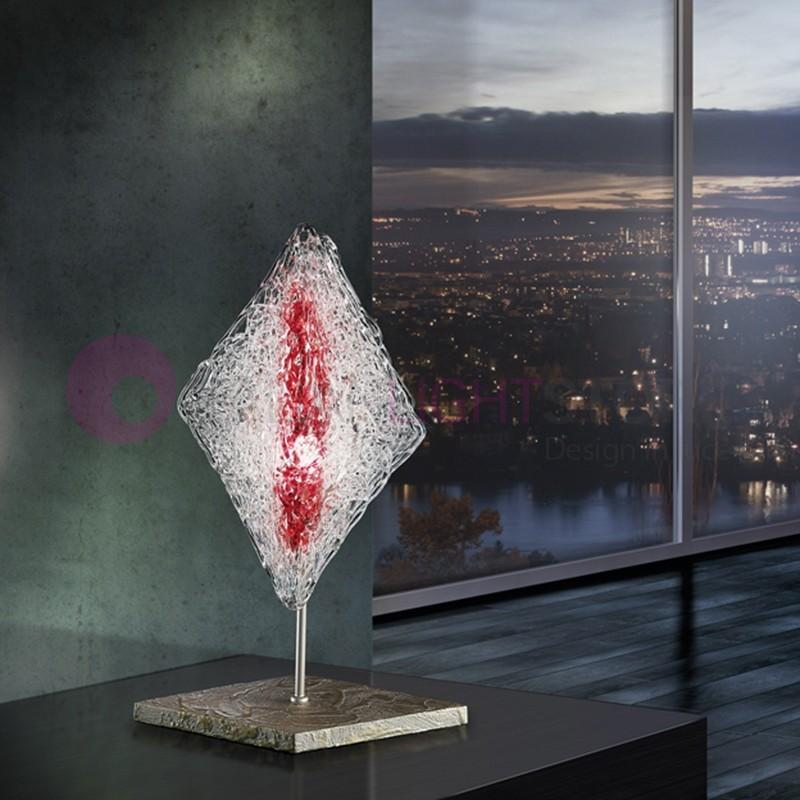 ALASKA Lampada da Tavolo in Vetro Artistico Design Moderno