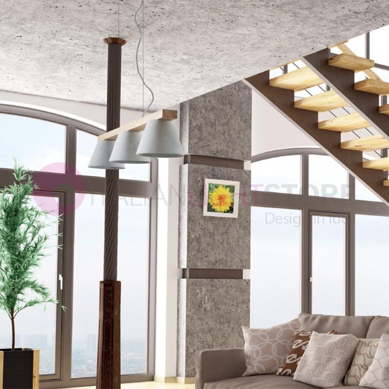 BETON Lampada a Sospensione in Legno a 3 Luci Design Moderno